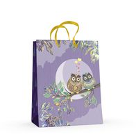 """Пакет бумажный подарочный """"Совы"""" (17,8x22,5x10,2 см)"""