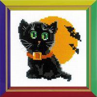 """Вышивка крестом """"Черный кот"""" (150x150 мм)"""