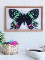 """Картина из шерсти """"Бабочка Урания Мадагаскарская"""" (200х300 мм)"""