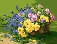 """Канва с нанесенным рисунком """"Корзинка с цветами"""""""