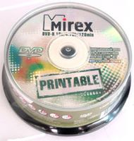Диск DVD-R 4.7Gb 16x Mirex Printable CakeBox 10
