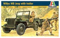 "Сборная модель ""Армейский внедорожник Jeep Willys с фигурками солдат"" (масштаб: 1/35)"