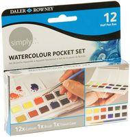 """Акварельные краски """"Pocket"""" (12 цветов + кисть)"""