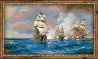 "Вышивка крестом ""Айвазовский. Бриг Меркурий, атакованный двумя турецкими кораблями"" (400х240 мм)"