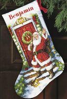 """Вышивка нитью """"Рождественский носок. Добро пожаловать, Санта!"""" (арт. DMS-70-08901)"""