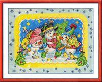 """Вышивка крестом """"Веселые снеговики"""""""