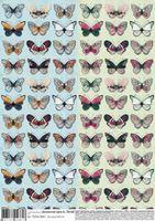 """Бумага для декупажа """"Два ряда бабочек"""" (210х300 мм)"""