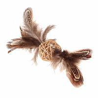 """Игрушка для кошек """"Плетеный мячик"""" с перьями (13 см)"""