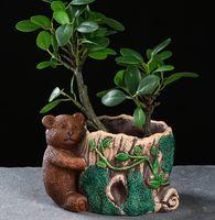 "Кашпо ""Медведь у пенька"" (15х11х10 см)"