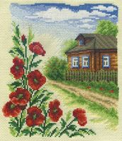 """Вышивка крестом """"Цветы у дома"""" (160х190 мм)"""