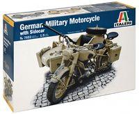 """Сборная модель """"Немецкий военный мотоцикл с коляской"""" (масштаб: 1/9)"""