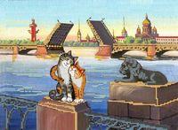 """Канва с нанесенным рисунком """"Питерские коты"""""""