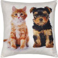 """Подушка """"Котёнок и щенок"""" (35x35 см; белая)"""