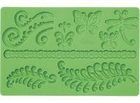 """Мат (молд) кондитерский для нанесения рисунка на мастику """"Папоротник и завитки"""" (арт. WLT-409-2548)"""