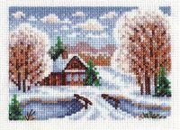 "Вышивка крестом ""Избушка в снегу"" (130х90 мм)"