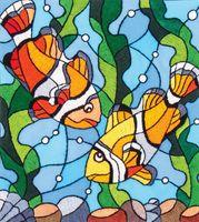 """Вышивка гладью """"Рыбки клоуны"""" (170х150 мм)"""