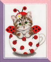 """Вышивка крестом """"Котенок в чашке"""""""