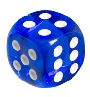 """Кубик D6 """"Прозрачный"""" (12 мм; синий)"""