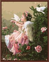 """Картина по номерам """"Ангелочек с голубями"""" (400х500 мм)"""