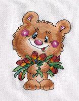 """Вышивка крестом """"Медвежонок с тюльпанами"""""""