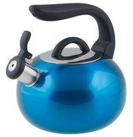 Чайник металлический со свистком (2,7 л; синий металлик)