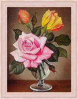 """Алмазная вышивка-мозаика """"Розы в фужере"""""""