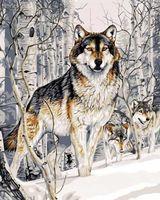 "Картина по номерам ""Волк зимой"" (400х500 мм)"