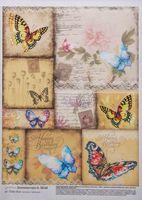 "Бумага для декупажа ""Картинки с бабочками"" (210х300 мм)"