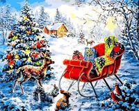 "Картина по номерам ""Новогодние сани с подарками"" (400х500 мм)"