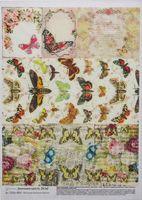 """Бумага для декупажа """"Небольшие винтажные бабочки"""" (210х300 мм)"""