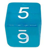 "Кубик D6 ""Цифры"" (16 мм; синий)"