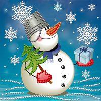 """Алмазная вышивка-мозаика """"Снеговик с подарком"""""""