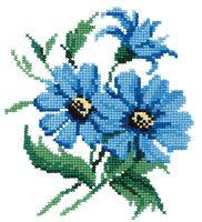 """Вышивка крестом """"Синие цветочки"""" (200х180 мм)"""