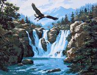 """Картина по номерам """"Орел и горный водопад"""" (400х500 мм)"""