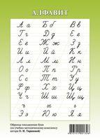 Алфавит русский. Образцы письменных букв (зелёный)