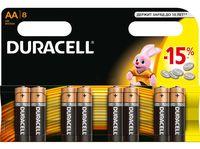 Батарейка DURACELL AA LR6 MN1500 Alkaline (8 штук)