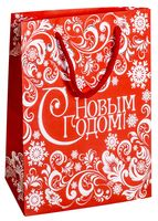 """Пакет бумажный подарочный """"Новогодний узор"""" (23х27х8 см; арт. 10908767; продается только в розничных магазинах OZ)"""