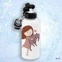 """Бутылка для воды """"Девочка с котиком"""" (600 мл)"""