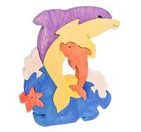 """Деревянный пазл """"Два дельфина"""" (7 элементов)"""