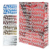"""Пакет бумажный подарочный """"Merry Christmas"""" (в ассортименте; 18х8х23 см; арт. ABD210010)"""