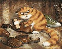 """Алмазная вышивка-мозаика """"Кот чистит ботинки"""" (480х380 мм)"""