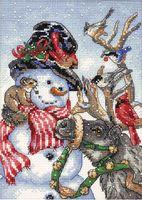 """Вышивка крестом """"Снеговик и олень"""" (180х130 мм)"""