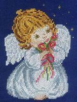 """Вышивка крестом """"Ангел с цветами"""""""