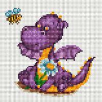 """Алмазная вышивка-мозаика """"Маленький динозаврик"""" (200х200 мм)"""