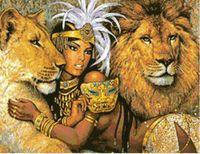 """Канва с нанесенным рисунком """"Девушка со львами"""""""