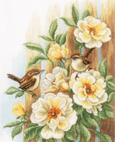 "Вышивка крестом ""Птицы на розах"" (270х330 мм)"