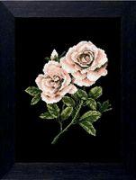 """Вышивка крестом """"Роза на черном"""" (200х280 мм)"""