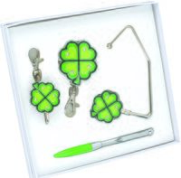 Набор. Шариковая ручка, крючок для ключей, складной крючок для сумки с карабином и шильдом, крючок для сумки (салатовый)