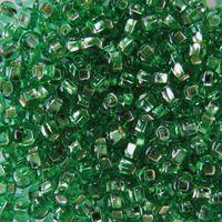 Бисер прозрачный с серебристым центром №57100 (светло-зеленый; 10/0)