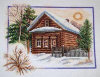 """Вышивка крестом """"Зима в деревне"""" (260х200 мм)"""